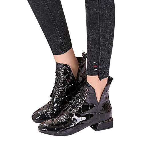 Vovotrade ♁ stivali alti in velluto con tacco alto in pelle, tacco quadrato traspirante tacco quadrato in vernice traspirante donna
