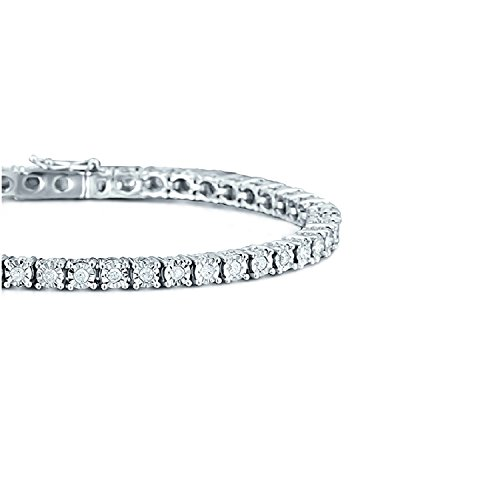 2,00carats Illusion Diamant Bracelet en or blanc lourd
