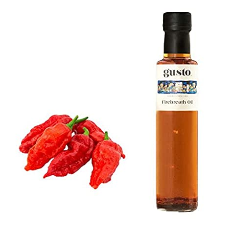 FIREBREATH chilli infused oil - made with Naga Bhut Jolokia Ghost Chili Birds-Eye Cayenne 250ml bottle (pack of 3) by GUSTO