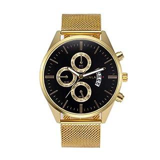 Heligen Mens Fashion Watches, Gens Minimalist Vintage Look Leather Band Wristwatch Retro Design Casual Stainless Steel Strap Watch Accessories (AH)