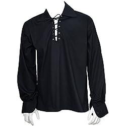 Escocés negro Jacobite Ghillie Kilt Camisa cordón de piel
