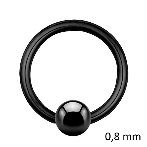 Treuheld Piercing Klemmring - Stahl - Schwarz - 0.8mm [05.] - 0.8 x 10 mm (Kugel: 4mm)