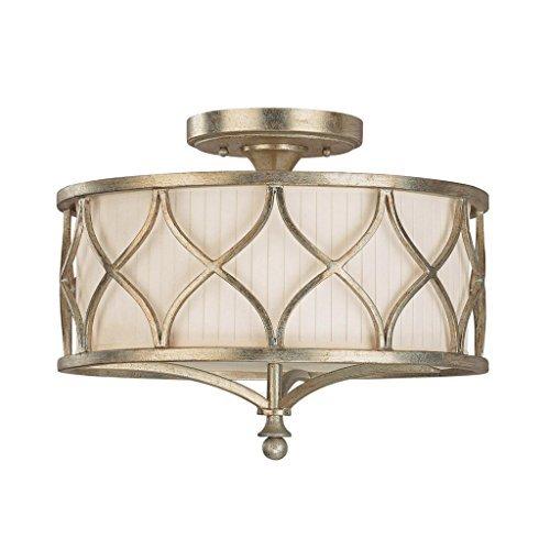 6 Tiffany Deckenleuchte (Saint Mossi Tiffany Designed Deckenleuchten Semi Flush Mount 3 Lichter Kronleuchter Stoff Schatten Antique Brushed Paint)