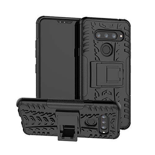 Uzer Schutzhülle für LG V40 ThinQ, stoßfest, Hybrid-Schlank, doppellagig, robust, Gummi, Hybrid-Hard/Soft Impact Armor Defender Full Body Schutzhülle mit Ständer für LG V40 ThinQ (2018), schwarz