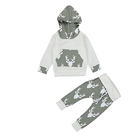 Fulltime(TM) Toddler Kids Baby Boys Clothes Deer Hooded Tops Jacket Tops + Pants Outfits Sets (0-6 months)