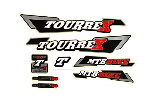Fahrrad DEKOR Satz Aufkleber Rahmen 8tlg. Frame Decal Sticker Tourrex Schwarz Rot