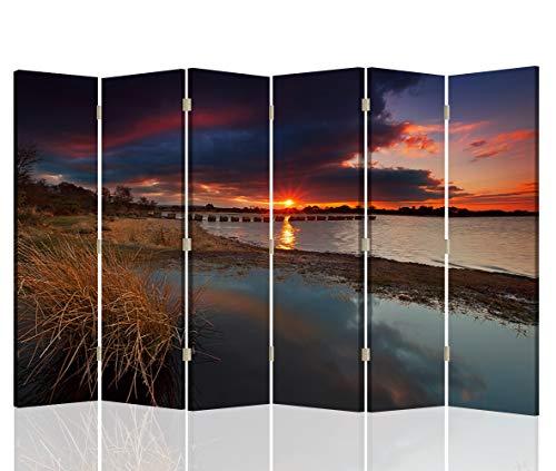Feeby Pared Española Atardecer 6 Paneles Bilateral Paisaje Naturaleza Multi 216x175 cm