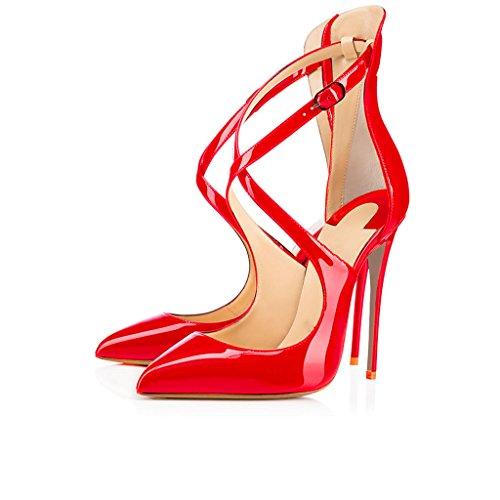 EDEFS Damen Knöchelriemchen Pumps,Spitze Zehen Stiletto Hohe Absatz Schuhe mit Schnalle Rot