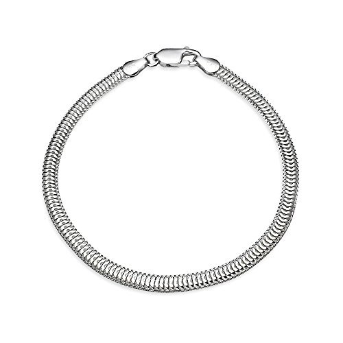 Hoops & Loops Sterling Silver High Polished Italian 3.5mm Sleek Snake Chain Bracelet, 7 Inches
