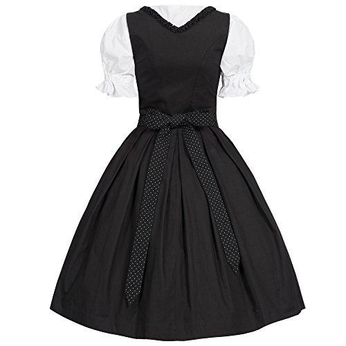 Bongossi-Trade Dirndl 3 tlg.Trachtenkleid Kleid, Bluse, Schürze, Gr. 34-46 Schwarz