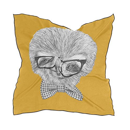Xukmefat Sloth With Glasses And Bow Tie Square Schal Head Wrap Hair Scarves New York Satin Bow