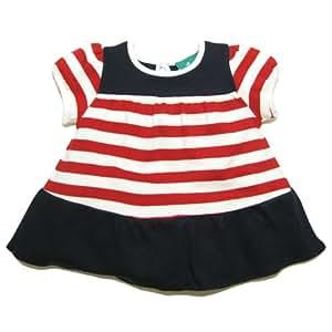 Little Green Radicals organic Fairtrade cotton Nautical Frill Dress  (Red & White Stripe, 2-3 Years)