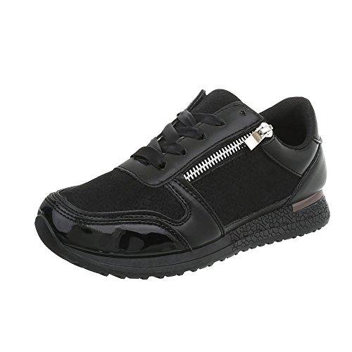 Ital-Design Sneakers Low Damen-Schuhe Schnürsenkel Freizeitschuhe Schwarz, Gr 38, D-58-