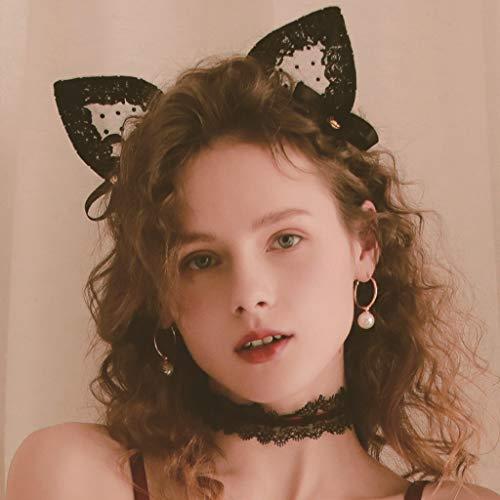 Kleine Wildkatze Glocke Stirnband Unterwäsche Accessoires Spitze Haarband Magd Kopfschmuck (Color : E)