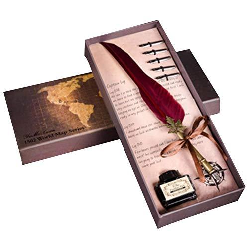 Wovemster bellissima penna a piuma, penna stilografica con penna per scrivere e bottiglia d'inchiostro, leghe di piume naturali, perfetto regalo per san valentino, vino rosso