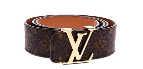 fashion leather metal buckle belt (Brown gold, (35-37)115cm) 8d8c80a2335