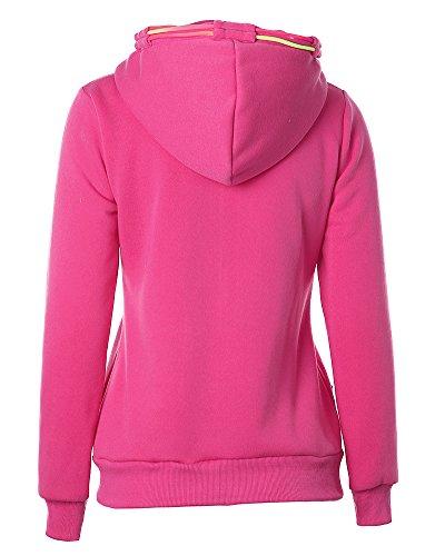 Giacca da Donna Felpa con Cappuccio e Zip Pullover Tops Maniche Lunghe Sweatshirt Hoodie Rosso