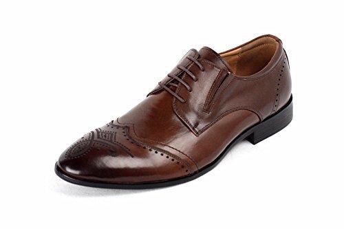 Hommes Chaussures Richelieu Cuir Robe Cérémonie Élégant Habillée Bureau À Lacets Décontracté Taille Café