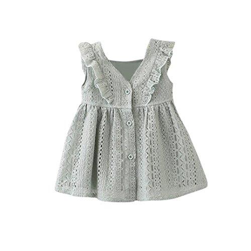 squarex Lovely Kinder Infant Kid Mädchen Spitze Rüschen Prinzessin Button Hohl Kleidung Kleidung, Kinder, grün, 6-12 Monate (Top Rüschen Tuxedo V-ausschnitt)