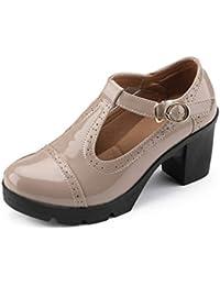 347467d0 Plataforma de Mujer Zapatos de cuña de Cuero de Vaca Genuino Bombas Vestido  de Oficina Zapatos