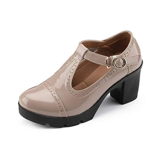 Plataforma de Mujer Zapatos de cuña de Cuero de Vaca Genuino Bombas Vestido de Oficina Zapatos de Corte clásico Oxford Tacones Altos