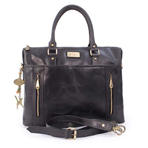 andbags - Vintage Leder - Schultasche/Organizer/Arbeitstasche/Aktentasche für Damen - Laptop/iPad - Handtasche mit Schultergurt -ADELE - Schwarz ()