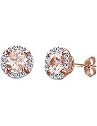 89ff97057af2 Pendientes de imitación de morganita y blanco con marco de diamante blanco  natural de 10 quilates de oro macizo.
