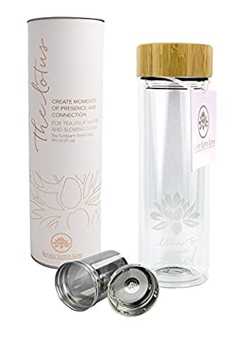 The Lotus Glass Tea Tumbler with Infuser + Strainer for
