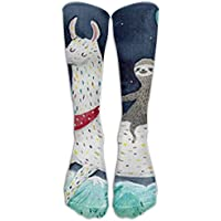 NEW Sloth Riding Llama Painting Athletic Tube Stockings Women's Men's Classics Knee High Socks Sport Long Sock One Size