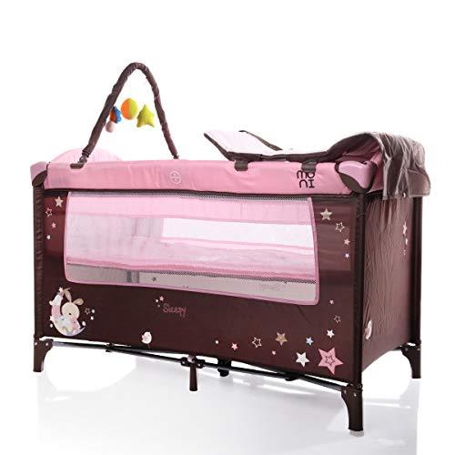 Cuna de viaje, parque infantil, cambiador, colchón, arco de juegos, entrada lateral. rosa Rosa