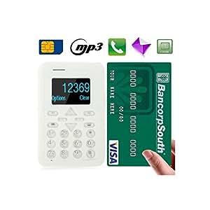 Mini téléphone portable débloqué format carte bleue mobile Blanc