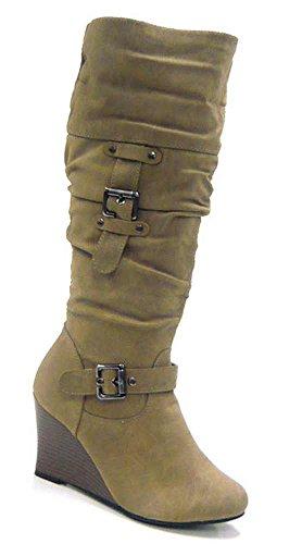 Schuh-City Gefütterte Kunst Fell Winter Boots Damen Schuhe Stiefel camel 36