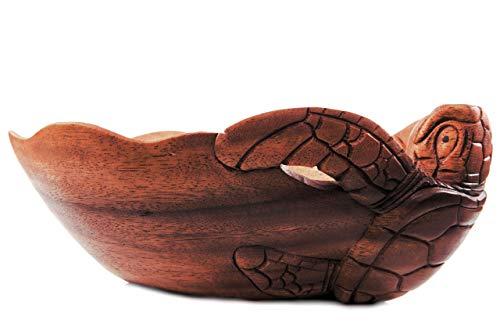Windalf Große Obstschale Ella l: 30 cm Glücks Schildkröte Dekoschale Handarbeit aus Holz