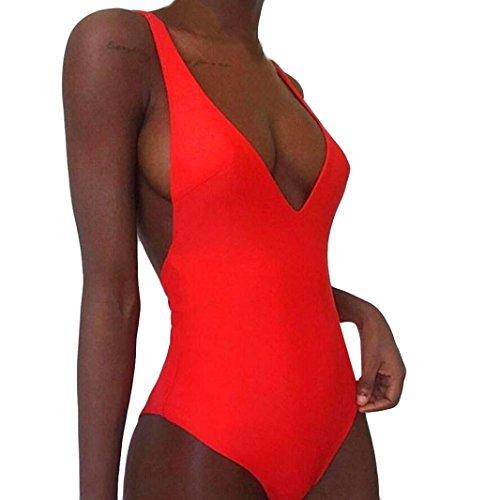 Rosennie Damen Sexy One Piece Bademode Frauen Bandage Thong Bikini Badeanzug Bade Beachwear Reizvolle Push-up Gepolsterte Backless Bikini Fashion Jumpsuits Swimwear Triangle Bikini (S, Rot B)