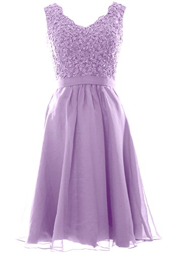 MACloth Women V Neck Vintage Lace Chiffon Short Prom Dresses Wedding Party Gown (Custom Size, Lavendel) (Bras Womens Lavendel)