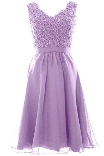 MACloth Women V Neck Vintage Lace Chiffon Short Prom Dresses Wedding Party Gown (Custom Size, Lavendel) (Womens Lavendel Bras)