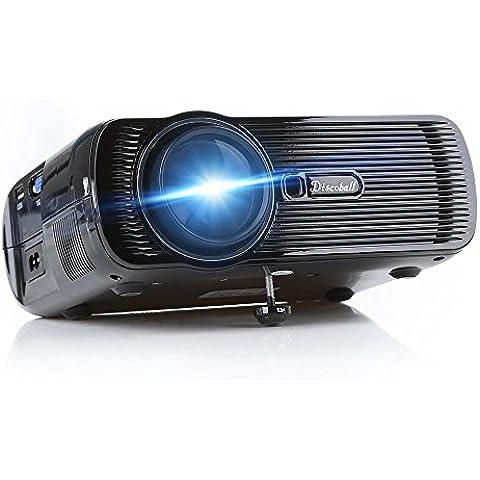 LCD proyector, Discoball DM-03 mini proyector ayuda 1080P Video en / Interfaz Inicio Película LCD LED proyector de Pico 800x480p Keystone óptico USB / AV / SD HDMI / VGA-Negro