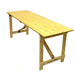 6 X 26 Wooden Trestle Table With Wooden Folding Legs