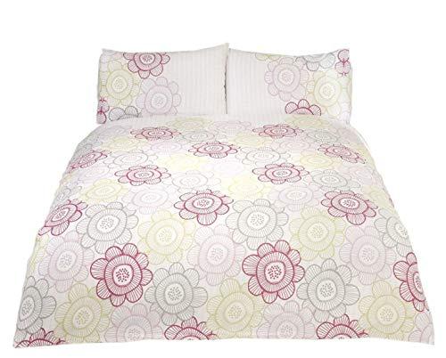 Blumenmuster Sonnenblumen Streifen Baumwollmischung Rosa Grün Wende Doppelbett Bettwäsche