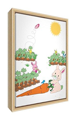 Feel Good Art eco-printed & Framed Nursery Tela con telaio in legno massiccio naturale ≪ Bella Il Coniglio E Gli Amici ≫ Multicolore, 64x 44x 3cm (L)