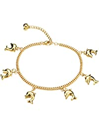 """3Aries 18k Gold Plated Adjustable Foot Chain Glossy Cute Dolphin Pendants Party Girls/Women Anklet Bracelets 7.87""""+2.16"""""""
