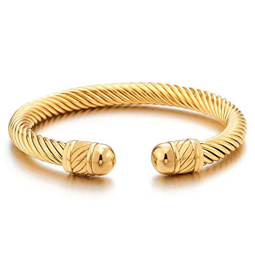 COOLSTEELANDBEYOND Elastische Verstellbare-Edelstahl Armband für Herren Damen Goldfarben Verdrehten Stahlkabel Armreif Poliert