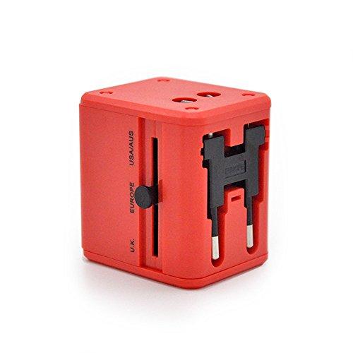 VIGICA Universal Reiseadapter Reisestecker World Travel Adapter Plug 4 Fach Reise (UK / EU / AU / US) 2 USB 150 Ländern Power Charger AC Steckdosenadapter Sicherheit(Rot)