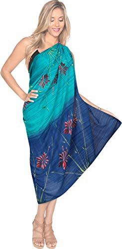 Sarong Bekleidung Pareos (LA LEELA tie dye Frauen Strand vertuschen Pareo Wickelrock Sarong Blau_X926 78