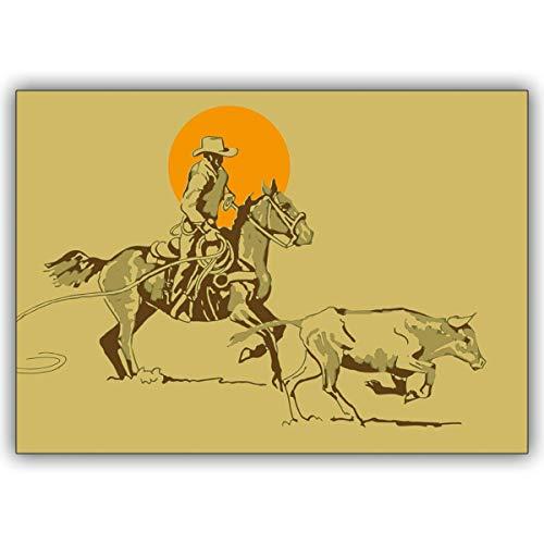 16 Kinder Karten (16er Set): Coole Cowboy Klappkarte aus dem wilden Westen • edle Klappkarte mit Umschlag für Sie gefertigt