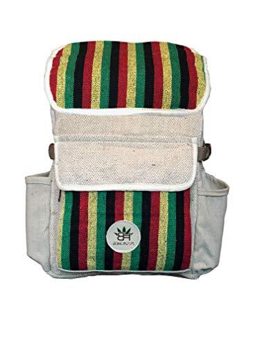 BeHemppy 100% Pure Hanf Rucksack/Tasche/Daypack mit Laptop-Hülle aus Nepal, Unisex (Jamaican Dream)