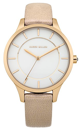 Karen Millen Women's Quartz Watch with White Dial Analogue Display and Beige Leather Strap KM133C