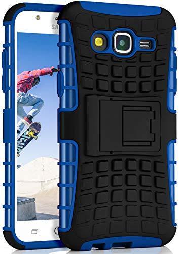ONEFLOW® Outdoor Back-Cover aus Silikon + Kunststoff [Double-Layer] passend für Samsung Galaxy J5 (2015) | Extrem widerstandsfähiger 360° Schutz, Blau
