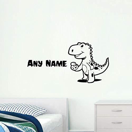Personalisierte Name Vinyl Wandtattoos Nette Kleine Dinosaurier Kunst Wandaufkleber Für Jungen Room Removable Decor Adesivo De Parede Z 60x30 cm