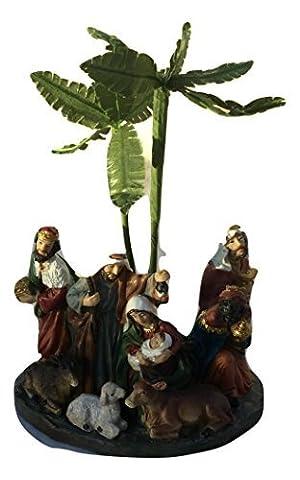 Krippe Christmas Heiliger Family & weisenrats Dekoration Baby Jesus, Maria, Joseph Palmen Bäume